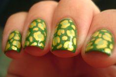 Leopard Leprechaun manicure.