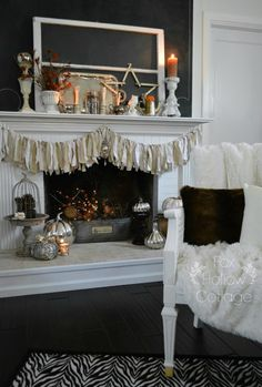 Cottage mantel at Thanksgiving. Late Fall/Autumn. Vintage touches, timeworn treasures and natural elements add warmth to the story.