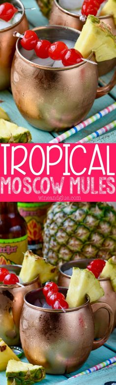 These Tropical Moscow Mules are absolutely delicious and super easy to make! Like if Moscow Mules and Pina Coladas had a baby! These Tropical Moscow Mules are absolutely delicious and super easy to make! Like if Moscow Mules and Pina Coladas had a baby! Party Drinks, Cocktail Drinks, Fun Drinks, Cocktail Recipes, Alcoholic Beverages, Drink Recipes, Easy Vodka Cocktails, Tropical Alcoholic Drinks, Milkshakes