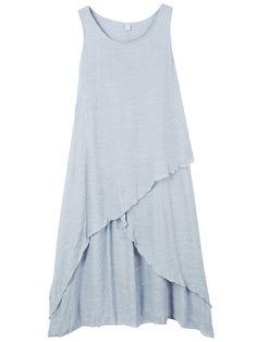 Casual Women Sleeveless Pure Color O-Neck Irregular Dress at Banggood