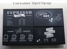E Ink showcases digital signage, luggage tags, and more at CES 2016 B&n Nook, Espresso Drinks, Digital Signage, Amazon Kindle, Book Publishing, Screens, Signs, Paper, Image