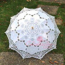 White Handmade Battenburg Bridal Lace Parasol Wedding Umbrella Photography Props