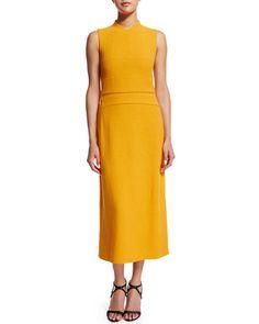 Narciso Rodriguez  - Sleeveless Banded-Bodice Midi Dress, Marigold - Michelle Obama's State of the Union Dress