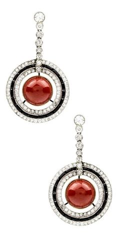A pair of Art Deco coral, onyx and diamond earrings. #ArtDeco