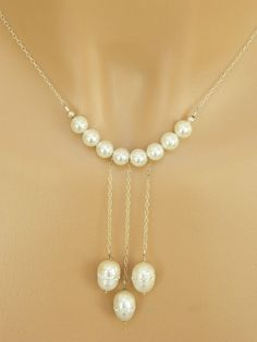 Unique Pearl Necklace Handcrafted White Freshwater Silver Chain Short by BlondePeachJewelry on Etsy