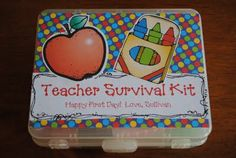If you want to add a little label inside with the name of each item and why it's in the box...that can be cute too.  But it's not necessary.  Just opening the kit and seeing all of the fun and bright goodies inside is enough to make any teacher smile!  Have fun with heading back to school!