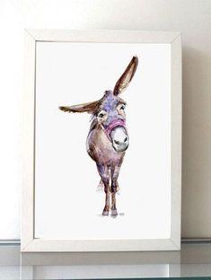 Donkey Art Donkey Painting art print Animal by Zendrawing