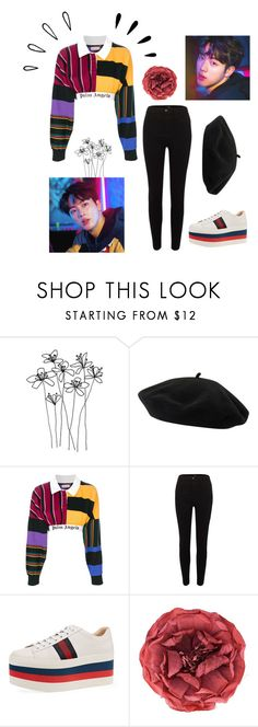 """""""Ft. 김석진 Kim Seok-jin"""" by alva01 ❤ liked on Polyvore featuring Goorin, Palm Angels, River Island, Gucci, Old Navy, bts and jin"""
