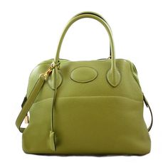 fb769ff9b8fb Details about Hermes Green Leather Bolide Handbag- Authentic