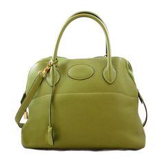 Hermes bolide | Authentic Hermes Green Leather 31cm Bolide Handbag Gold-tone hardware ...