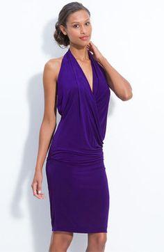 Nicole Miller Draped Jersey Halter Dress