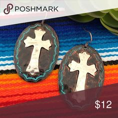 Copper Patina & Silver Cross Earrings Brand new patina copper Medallion earrings with Silver Cross accent. Boho, gypsy, tribal, Aztec, Navajo, southern, southwest, western, rodeo, cowgirl style. Jewelry Earrings
