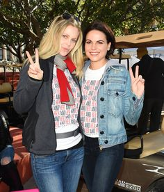 Kristin Bauer van Straten and Lana Parrilla attends the women's march in Los Angeles on January 21, 2017 in Los Angeles, California.