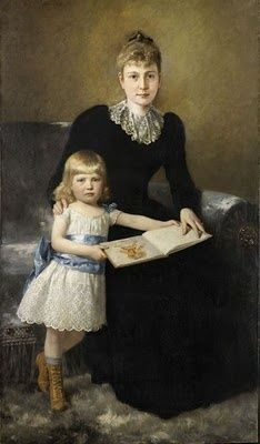 Theodor Dengler  A Portrait of a Mother and Daughter 1891 Childrens Hour in Oil Painting
