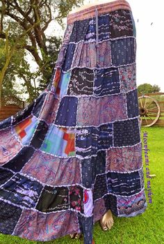 ♥ STRIKING PURPLE PATCHWORK HIPPIE BOHEMIAN SKIRT UK SIZE 10 12 14 BOHO FESTIVAL