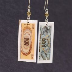 Italian Jewelry Upcycled Italian Lira Earrings Italian by Tanith