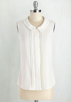 Profesh of Both Worlds Top in White. For a poised look that gracefully transitions from the office to the bistro, reach for this white blouse - a ModCloth exclusive! #white #modcloth