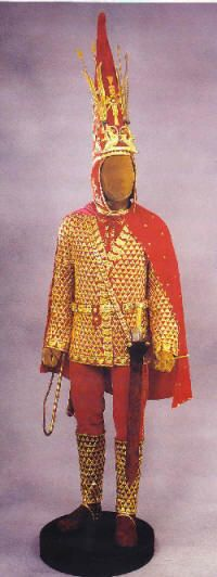 Scythian/Saka Prince golden amour/attire  Issk, Kazaksthan (Saka  can be translated as 'pointed hat.' The Greeks thought all Sakas were Scythians, but not all Scythians were Sakas.)