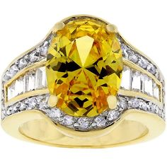 Kate Bissett Goldtone Yellow and Cubic Zirconia Ring
