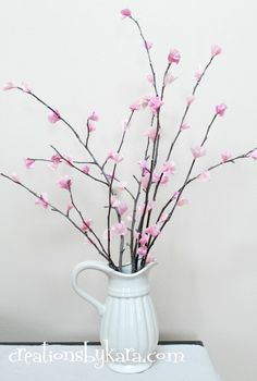 cherry blossom branches from tissue paper - love this for spring!