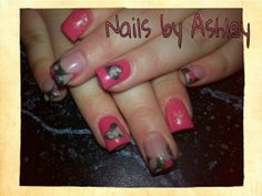 Coral camouflage camo heart Valentine's gel nails