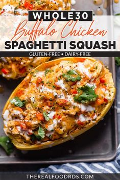The BEST Whole30 Buffalo Chicken Spaghetti Squash Bake.  The most popular spicy buffalo flavor mixed with fresh veggies and chicken for a healthy baked casserole.   || The Real Food Dietitians || Entree Recipes, Lunch Recipes, Healthy Dinner Recipes, Breakfast Recipes, Dairy Free Recipes, Paleo Recipes, Real Food Recipes, Curry Recipes, Gluten Free