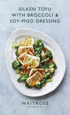 Silken tofu with broccoli & soy-miso dressing Healthy Chicken Recipes, Veggie Recipes, Asian Recipes, Vegetarian Recipes, Cooking Recipes, Japanese Tofu Recipes, Tofu Dishes, Vegan Main Dishes, Vegetable Dishes