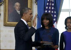 President Obama was sworn in for his second term at a White House ceremony on Sunday. Chief Justice John Roberts admistered the oath of office.The Constitution mandates that presidential terms begin on Jan. 20, and it is traditional when the day falls on a Sunday that the public ceremony take place the next day.