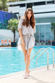 larisa costea, larisa costea blog, the mysterious girl, the mysterious girl blog, fashion, fashionista, fashion blogger,pool look, beach look, beach outfit, bathing suit, swimwear, white bikini, grey t-shirt dress,Romwe, asos, little mistress, silver sandals, a day at the pool,pool pictures, girl, long hair, summer hair