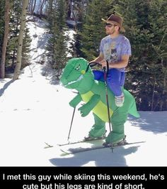 Funny pictures about T-Rex Ski Ride. Oh, and cool pics about T-Rex Ski Ride. Also, T-Rex Ski Ride photos. Dinosaur Halloween, Dinosaur Costume, Dinosaur Suit, Rex Costume, Really Funny Pictures, Funny Photos, Random Pictures, Purim Costumes, Family Costumes