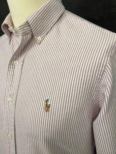 #RalphLauren #Mens #Shirt / Small / Custom Fit / Burgundy White Striped Oxford Cotton #menswear #mensstyle #mensfashion #macmenswear