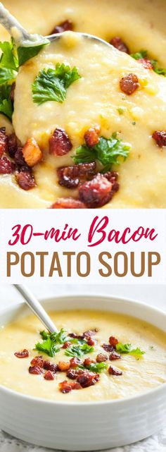This easy Potato Bacon Soup is ready in less than 30 minutes and loaded with crispy bacon, sweet corn, and filling potatoes. A thick and creamy fall soup that makes a perfect comfort food for cold days!