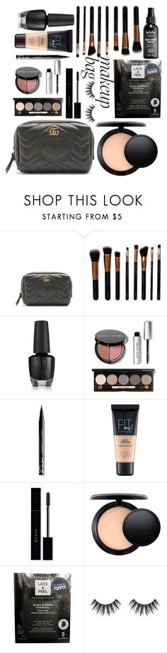 """""""My make up bag."""" by aura-helena ❤ liked on Polyvore featuring beauty, Gucci, M.O.T.D Cosmetics, Bobbi Brown Cosmetics, NYX, Maybelline, MAC Cosmetics and Dermovia"""
