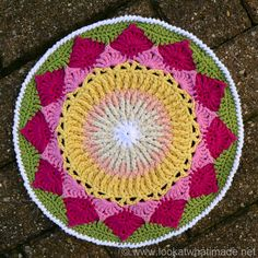 This King Protea Mandala is what happened when Sophie's Mandala met the Front Post Frenzie Dishcloth. It is my nod to the South African National Flower.