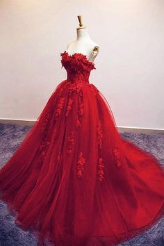 Romantic A-Line Sweetheart Red Tulle Long Evening Dress with Appliques · Tidetell · Online Store Powered by Storenvy