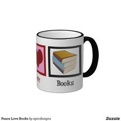 Peace Love Books Ringer Coffee Mug for a librarian or a bookworm's Christmas gift. I love reading while drinking a hot cup of coffee in the morning. A nice gift for a teacher.