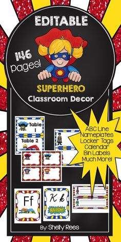 Superhero Classroom Decor - EDITABLE nameplates, alphabet line, table numbers, bin labels, and SO MUCH MORE! 146 pages of colorful, fun classroom decor! LOVE my superheroes!