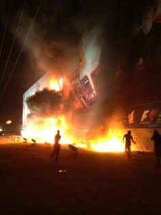 Bahrain Grand Prix protestors set fire to the Formula 1 billboard - things you don't see from the F1 media...