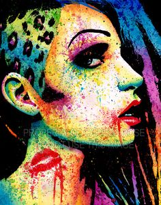 Art Print Intoxicated - Edgy Punk Rock Fashion Rainbow Pop Art Portrait 5x7, 8x10, or 11x14