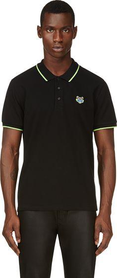 702e575bac Kenzo - Black Embroidered Tiger Patch Polo | SSENSE Kenzo Clothing, Cute  Tshirts, Polo