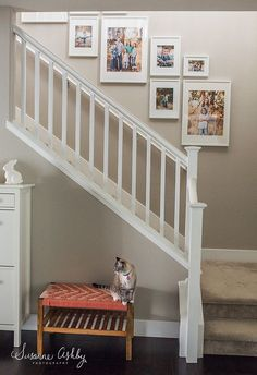 Picture kit wall layout app set home decor frames white staircase, picture Decorating Stairway Walls, Staircase Wall Decor, White Staircase, Staircase Makeover, Staircase Design, Staircase Metal, Black Stairs, Picture Wall Staircase, Picture Frames On The Wall Stairs