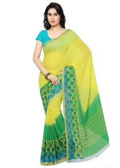 Buy Anand Sarees Georgette Saree - Yellow from Anand Sarees, Anand Sarees Georgette Saree - YellowSarees