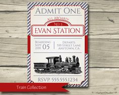 Train Birthday Party Invitation Printable Train by HarkenStudio, $10.00