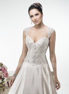 Exquisite A-line Straps Beading&Crystal Sweep/Brush Train Satin Wedding Dresses