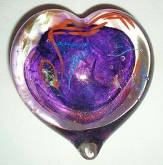 INTENSELY Iridescent DICHROIC Glass PAPERWEIGHT HEART Signed UNIQUE Color COMBO