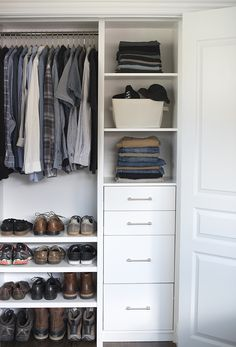 6 Glowing Clever Hacks: Bedroom Remodel Grey Mirror old bedroom remodel.Kids Bedroom Remodel Drawers small bedroom decorating on a budget.How Much To Remodel A Small Bedroom. Boys Closet, Tiny Closet, Small Closets, Small Bedrooms, Open Closets, Dream Closets, Closet Space, Small Wardrobe, Bedroom Closet Design