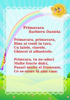 Primavara - de Barbieru Daniela Experiment, Kids Poems, Kids And Parenting, Birthday Wishes, Activities For Kids, Things To Do, Teacher, Songs, Reading