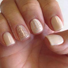 Simple nude & glitter gel nail art design