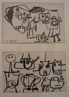 Karel Appel, (1921-2006), Op 16 juli 1948 richtten de kunstenaars Karel Appel, Corneille en Constant samen met Anton Rooskens, Theo Wolvecamp, die zich Theo Wolvé noemt, en Jan Nieuwenhuys, de broer van Constant, de Experimentele Groep in Holland op. Ook Tjeerd Hansma was bij de oprichting, maar deze vrijbuiter en vechtersbaas verliet de groep. De Belgische schrijver Hugo Claus sloot later aan. Modern Drawing, Modern Art, Cobra Art, Art Informel, Soul Art, Dutch Painters, Black And White Abstract, Paintings I Love, Outsider Art