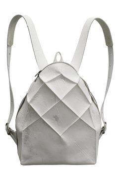 White Geometric Leather Backpack from Kagari Yusuke | unconventional